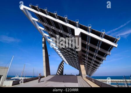 Spain Catalonia Barcelona the Forum park pergola fotovoltaica giant solar panel designed by the architects Elias Torres and