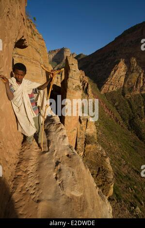 Ethiopiia Tigray Gheralta range rock hewn church of Abuna Yemata Guh dated 7th-8th century - Stock Photo
