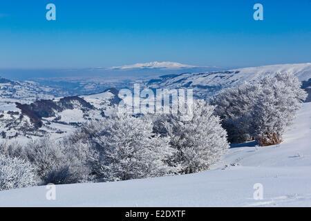 France Cantal Serre path Impradine valley Sancy massif in the background Parc Naturel Regional des Volcans d'Auvergne (Auvergne