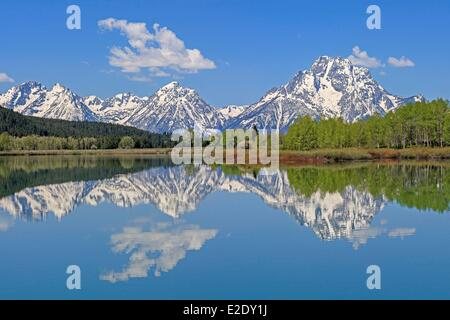 United States Wyoming Grand Teton National Park the Snake River and the Teton Range with Mount Moran from Oxbow Bend