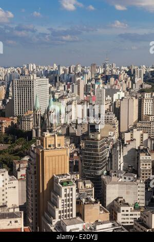 Brazil Sao Paulo downtown general view from the rooftop terrace of the Martinelli building (1929) - Stock Photo