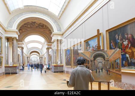 France, Paris, Louvre Museum, the Grande Galerie - Stock Photo
