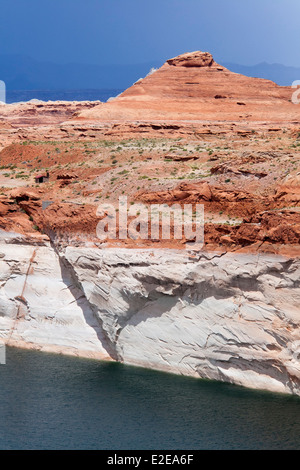 'Bathtub Ring' on Lake Powell at Glen Canyon Dam Shows Drought Effects - Stock Photo