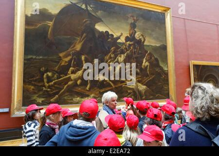 France, Paris, children and guide in font of Le radeau de la Meduse by Gericault, in The Louvre great gallery - Stock Photo
