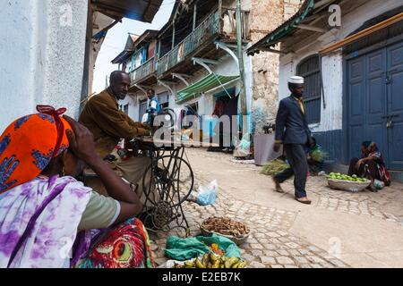 Ethiopia, Harar, listed as World Heritage by UNESCO, dress maker and sellers in a street - Stock Photo