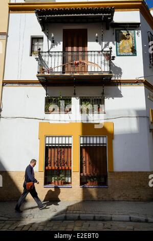 Spain, Andalusia, Seville, traditional house in the calle Dona Maria Coronel - Stock Photo