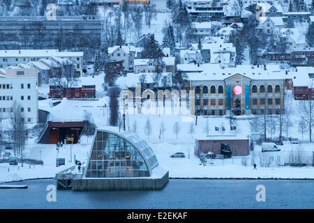 Norway, Lapland, Troms, Tromso, the town and the museum Polaria discovery center of the Arctic - Stock Photo