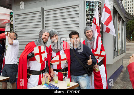 Sao Paulo, Brazil. 19th Jun, 2014. England football fans gather at Vale do Anhangabau before England vs Uruguay - Stock Photo