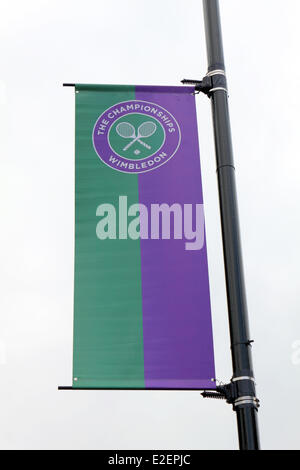 Wimbledon, SW19, London, England UK. 19th June 2014. Banners are in place giving instructions for visitors attending - Stock Photo