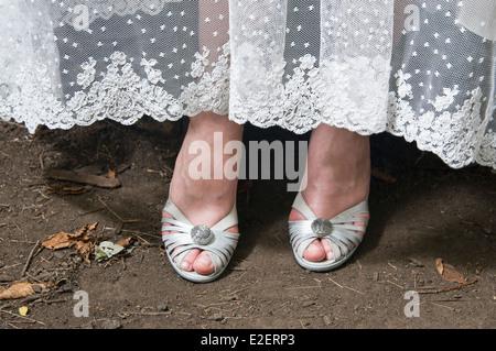A brides shoes - Stock Photo