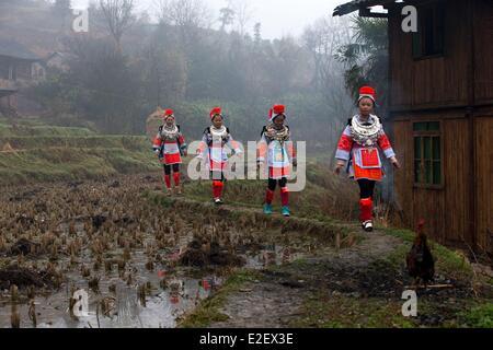 China, Guizhou province, Matang, Gejia people in traditional dress - Stock Photo