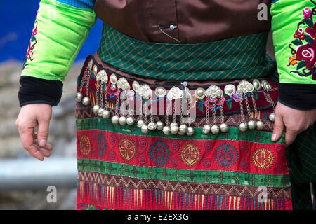 China, Guizhou province, Qingman, Green Miao ethnic minority in traditional dress - Stock Photo