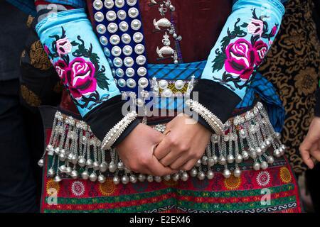 China, Guizhou province, Yatang, Green Miao Lusheng festval - Stock Photo