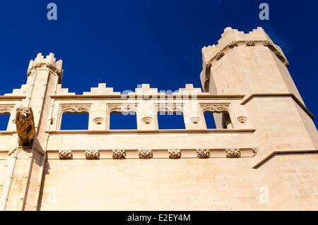 Spain, Balearic Islands, Majorca, Palma de Majorca, facade of La Lonja (or Sa Llotja) 15th century - Stock Photo