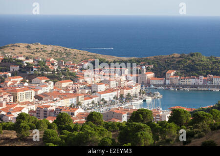 France, Pyrenees Orientales, Port Vendres, Cote Vermeille - Stock Photo