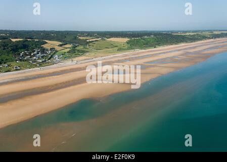 France, Calvados, Omaha Beach, Colleville sur Mer, Le Cavey (aerial view) - Stock Photo