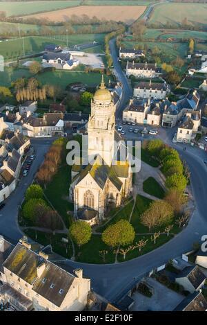 France, Manche, Sainte Marie du Mont (aerial view) - Stock Photo