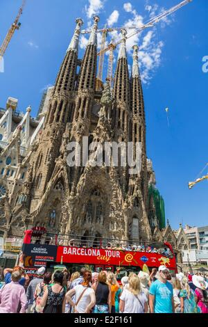 Spain, Catalonia, Barcelona, Eixample, Sagrada Familia, Antoni Gaudi's, World Heritage Site of UNESCO - Stock Photo