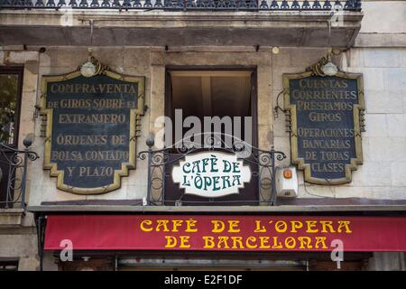 Spain, Catalonia, Barcelona, La Rambla, the Cafe Europa - Stock Photo