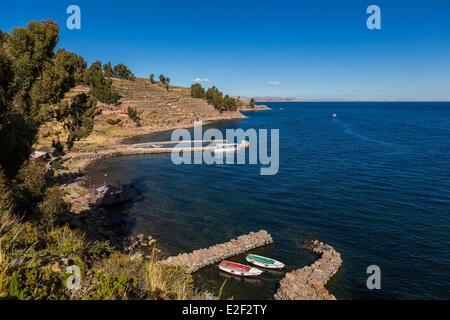 Peru, Puno Province, Lake Titicaca, Taquile Island - Stock Photo