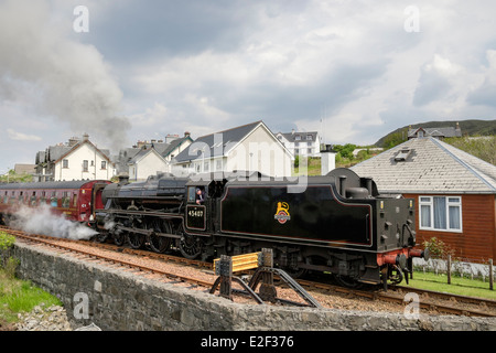 Jacobite Steam train The Lancashire Fusilier 45407 on West Highland Railway line to Fort William. Mallaig Highland - Stock Photo