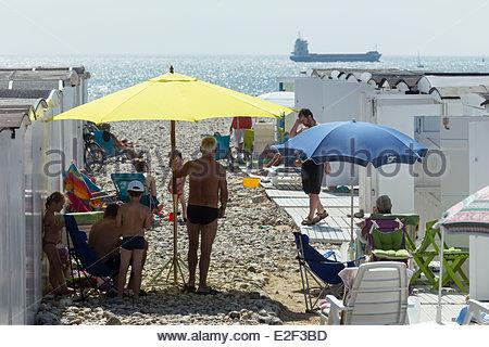 France, Seine Maritime, Le Havre, beach huts - Stock Photo