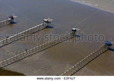 France, Loire Atlantique, Saint Brevin les Pins, Fishery, Squares on the estuary of the Loire (aerial view) - Stock Photo