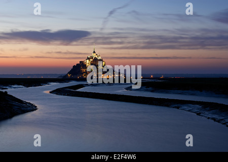 Sunset at Mont Saint Michel - Stock Photo