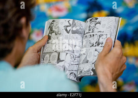 Erlangen, Germany. 19th June, 2014. A visitor reads a comic book during the 16th Internationalen Comic Salon festival - Stock Photo