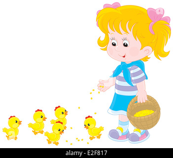 Girl feeds chicks - Stock Photo