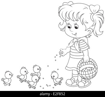 Girl feeding chicks - Stock Photo