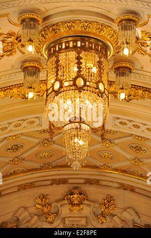 France, Nord, Lille, Lille Opera, the home, central chandelier at the ceiling - Stock Photo