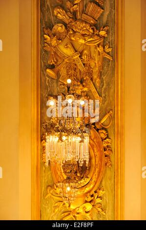 France, Nord, Lille, Lille Opera, the home, wall decoration and its lighting - Stock Photo