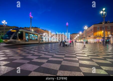 France, Alpes Maritimes, Nice, Place Massena, streetcar and artwork called Conversation a Nice by Jaume Pensa - Stock Photo