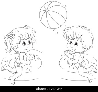 Girl And Boy Play A Ball In Water