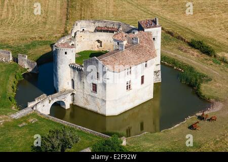 France, Charente Maritime, Saint Jean d'Angle, castle of the 12th century (aerial view) - Stock Photo