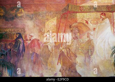 France, Haute Garonne, Toulouse, Capitole, Town Hall, Benjamin Constant painting, Arrival of Pope Urban II in Toulouse - Stock Photo