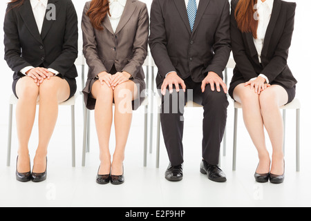 business people waiting for job interview over white - Stock Photo