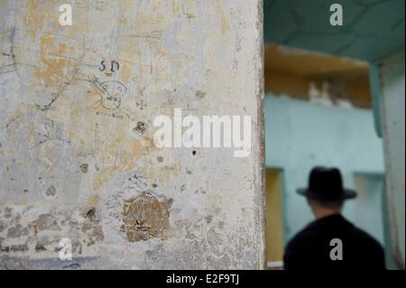 France Rhone Lyon Montluc Prison Memorial prisoner graffiti the SD for Sicherheitsdienst which was the intelligence - Stock Photo