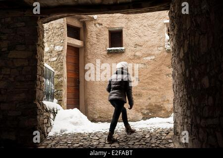 Switzerland, Ticino, Lugano, Bre vilage after a snowfall in February - Stock Photo