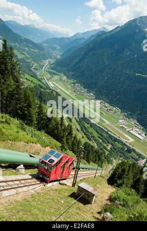Switzerland, Ticino, Gothard range, Piora valley, Ritom funicular, one of the steepest in Europe with 88% slope - Stock Photo