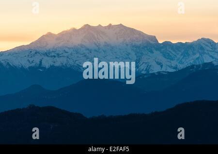 Switzerland, Ticino, Lugano, Monte Bre, view of Monte Rosa at sunset - Stock Photo