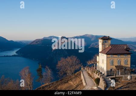 Switzerland, Ticino, Lugano, Monte Bre, view of Lugano - Stock Photo