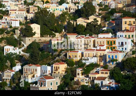 Greece, Dodecanese, Symi Island, Gialos harbour - Stock Photo