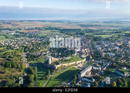 France, Calvados, Falaise, Falaise castle dated 12th 13th century (aerial view) - Stock Photo
