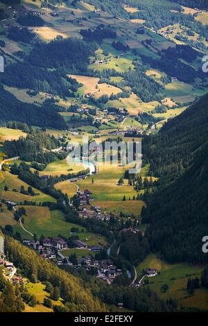 Austria, Carinthia, Hohe Tauern national Park, Grossglockner High Alpine Road, top view of Heiligenblut village - Stock Photo