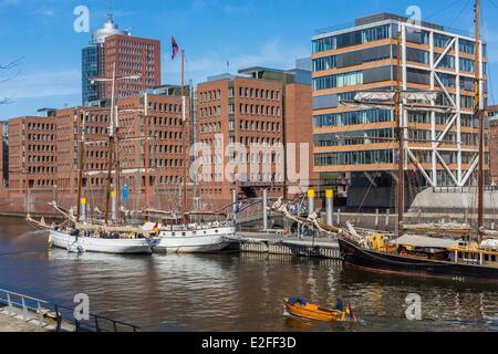 Germany Hamburg HafenCity which develops the most important project of European urban planning with the rehabilitation - Stock Photo