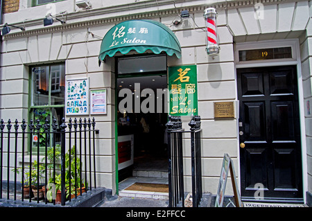 Hair Salon, Chinatown, West End, City of Westminster, London, England, United Kingdom - Stock Photo