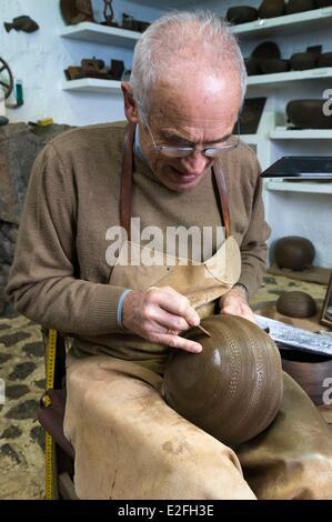 Spain, Canary Islands, La Palma, Mazo, pottery studio traditional Guanches - Stock Photo