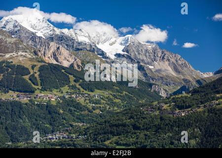 France Savoie Peisey Nancroix paradiski the Mont Pourri (3779m) and the Dome de La Sache (3601m) in the Vanoise - Stock Photo
